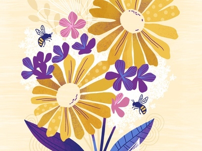 Florals flowers honeybees bees spring modern florals floral art surface pattern greeting card illustration