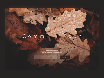 Comming Soon Page minimal web design web daily 100 challenge ui dailyuichallenge dailyui 048 comming soon