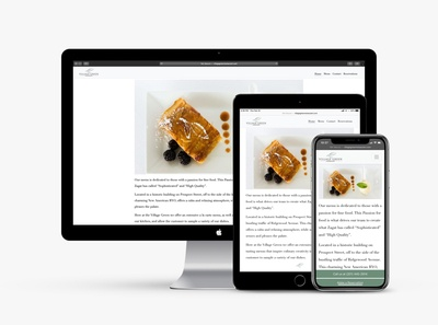 Responsive website redesign for Village Green Restaurant