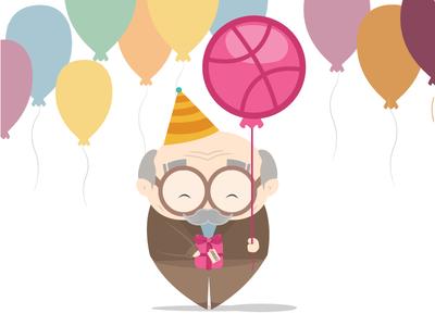 Finally on Dribbble gift invite illustration flat cute vector illustration debut cartoon baloon dribbble first shot