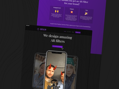 Landing Page | AR Filters Agency dark theme mockup filters ar filters visual design typography web dark mode branding dribbble ui ux ui design figma shot design