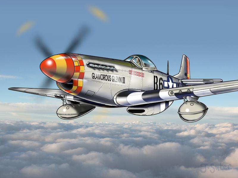 North American P-51D Mustang War Plane Illustration technical illustration photoshop vector illustration illustration