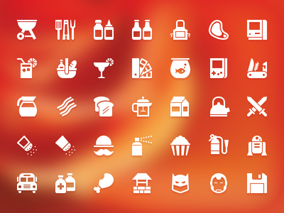 Year of Icons icon vector symbolicons bbq tools condiments ketchup mustard apron beer steak mac lemonade picnic swatch book breakfast coffee fish milk bacon roast game boy swiss army knife mustache popcorn swords r2d2 batman ironman save