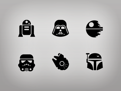 Star Wars Glyphs symbolicons star wars r2d2 storm trooper darth vader boba fett deathstar millenium falcon icons