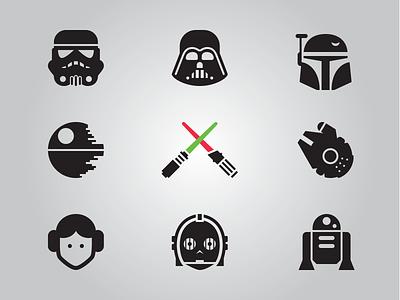 Star Wars Glyphs, Updated star wars icons vector stormtrooper leia darth vader millenium falcon r2d2 c3po boba fett deathstar lightsaber