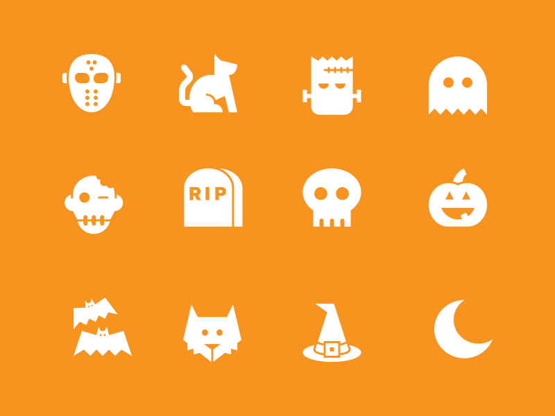 Halloween Icons - Free halloween jason mask cat frankenstein ghost skull wolf witch bats moon pumpkin