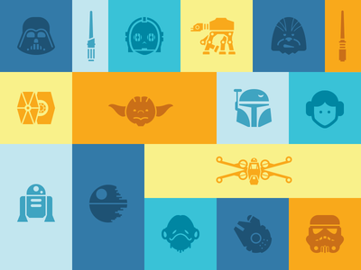 More Free Star Wars Icons darth vader yoda jedi millenium falcon at-at x-wing r2-d2 c-3po