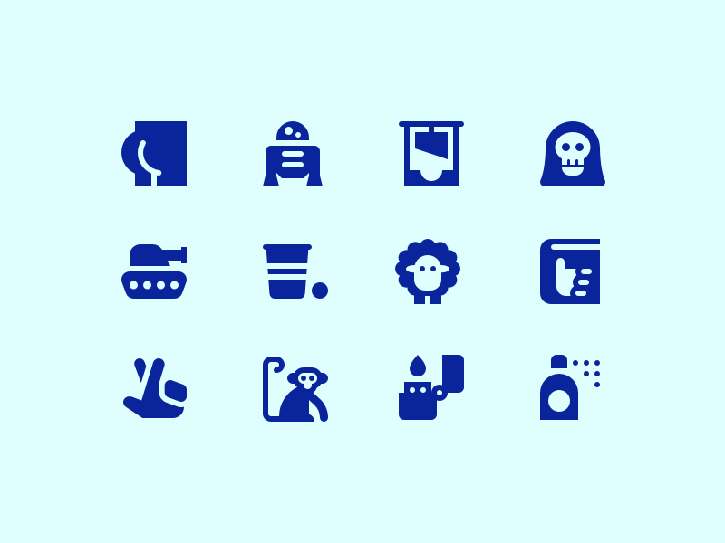 Eclectic Icons monkey fingers crossed hitchhikers guide to the galaxy sheep beer pong tank grim reaper guillotine r2d2 butt symbolicons icon