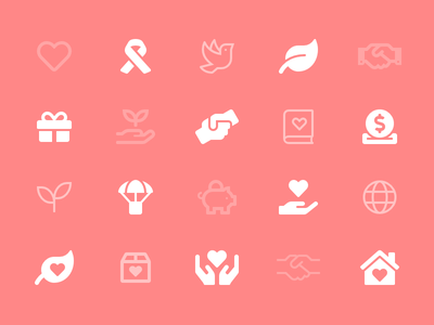 Charity Category gift donate parachute heart dove font awesome icon charity