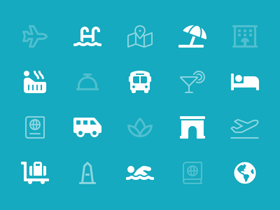 Travel Category swimming luggage spa hotel font awesome travel icons