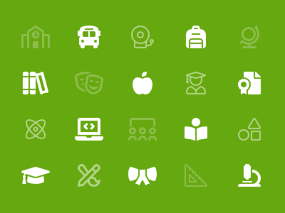 Education Category school shapes laptop icons education