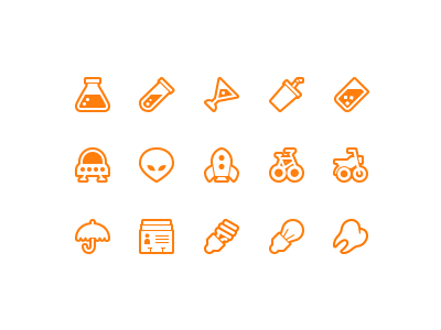 Still More Symbolicons Line symbolicons symbols vector icon icons pixel beaker martini alien ufo spaceship bicycle motorcycle umbrella lightbulb tooth