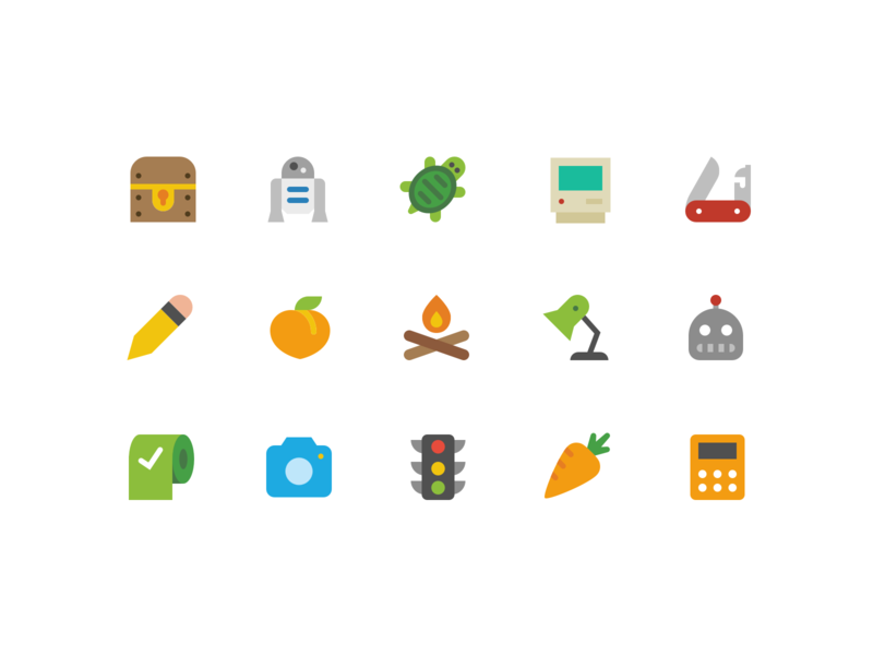 More Color Icons r2d2 peach classic mac carrot robot flat icons symbolicons