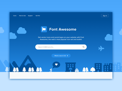 Illustrated Header header icons font awesome