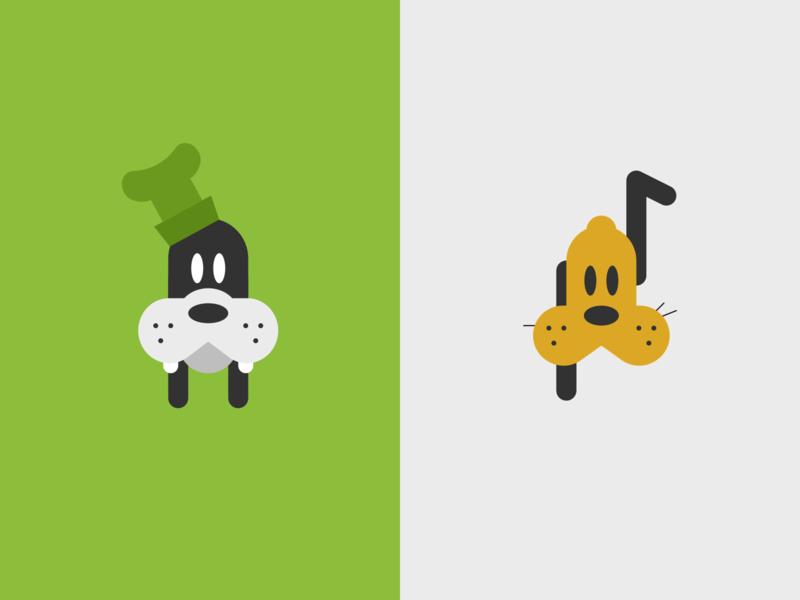 Dogs icon flat illustration pluto goofy disney