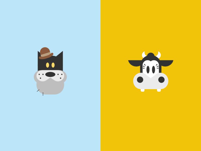 Cat + Cow icons pete clarabelle disney cat cow
