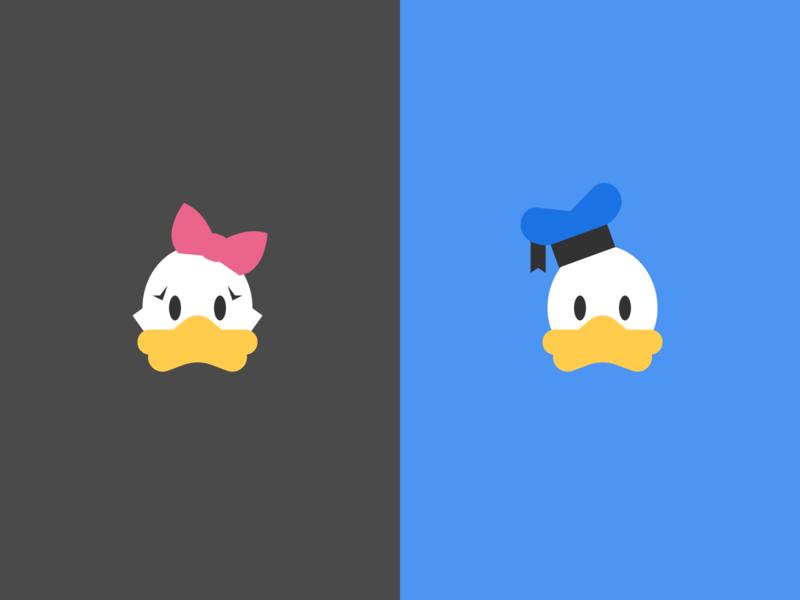 Ducks illustration simple daisy duck donald duck disney