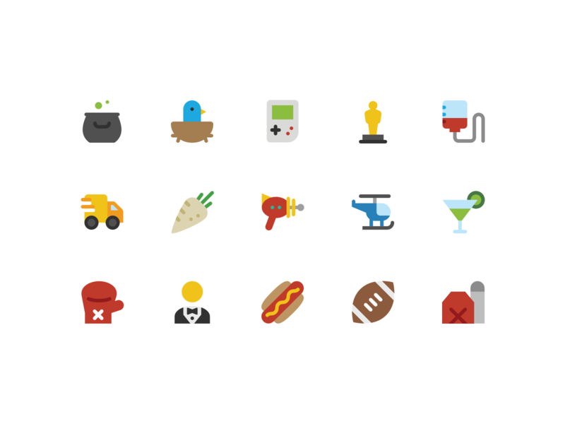 Color Icons, Continued hotdog raygun gameboy clean vector icon symbolicons