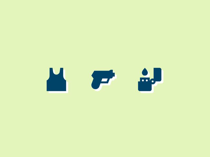 002. Tank Top, Gun, Lighter zippo lighter gun tank top year of icons icon symbolicons