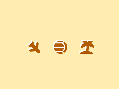 004. Airplane, Volleyball, Tropical Island island palm tree volleyball airplane icon year of icons symbolicons