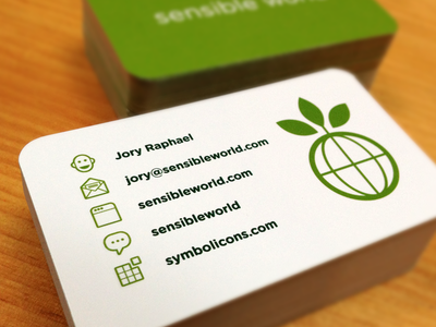 Sensible World BC business card symbolicons icons clean