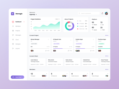 """Managie"" Project Management - Dashboard Menu desktop web screen portfolio clean dashboard management project uidesign ux ui uiux design app"