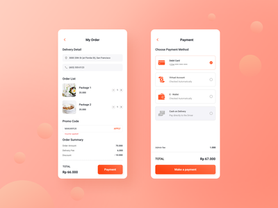 Mobile Food Delivery Apps discount total list food mobile code order promo clean detail payment delivery uiux ui uidesign designer design app