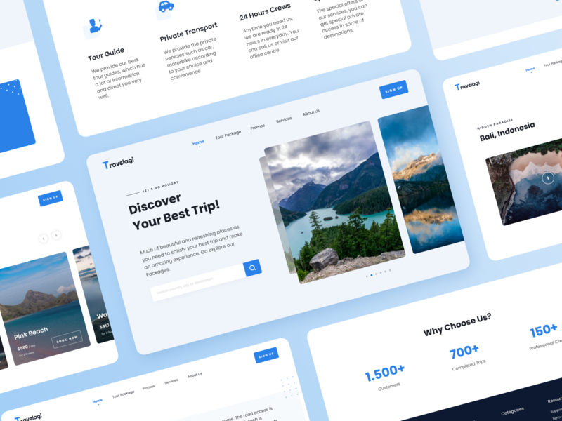 Travel Apps Landing Page  - Travelagi Blue ver. trip blue detail clean promo holiday tour travel landing page uidesign uiux ui app design app