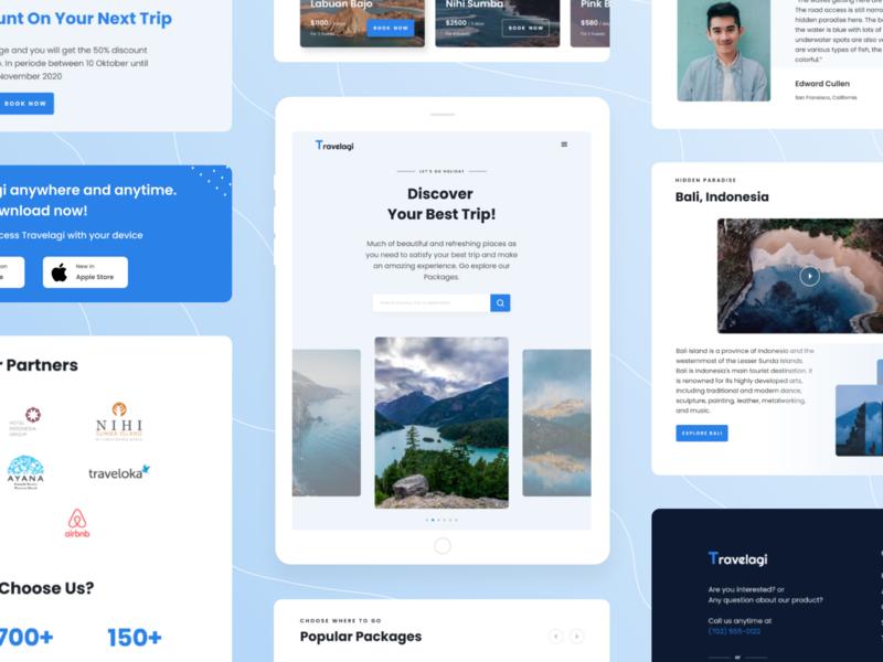 Travelagi - Travel Apps Landing Page iPad holiday trip section travel website responsive tablet ipad clean desktop uidesign detail uiux ui design app