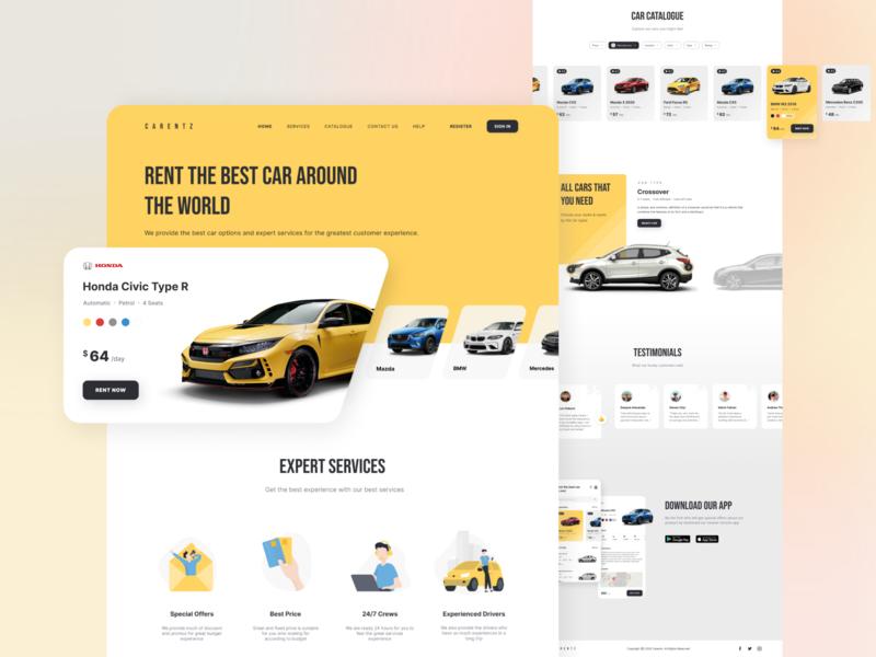 CARENTZ - Landing Page clean desktop landing page detail testimonials uidesign ui  ux rent car web website app design app