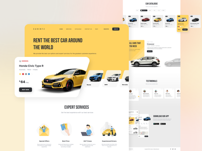 CARENTZ - Landing Page clean desktop landing page detail testimonials uidesign ui  ux rent car web website app design app