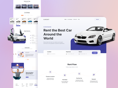 Car Rental Landing Page - Carent Purple ver. category date location clean detail service testimonials rental car dekstop landingpage website uidesign uiux app design app