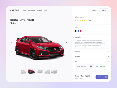 Detail Car - Carent purple ver. breadcrumb payment facilities clean app ui design uiux ui information page detail rental car car rental landing page website