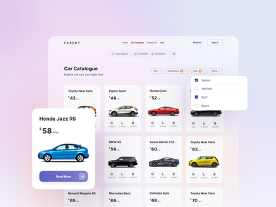 Car Catalogue - Carent purple ver. clean ui design ui explore trip desktop colors uiux uidesign landing page website detail catalogue rental car app