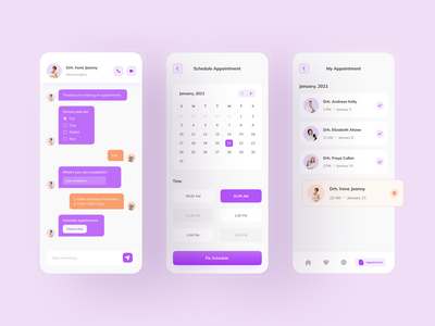 Pet Care - Mobile Apps (Next Flow) ui design mobile ui cute design clean detail calendar chatting app chatting video call doctor service pet pet care doctor appointment schedule type time date design