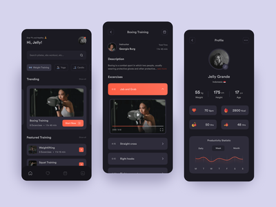 Fitness Mobile Apps clean video instructor excercise home page home screen profile page detail page statistic mobile dark mode dark mode healthy lifestyle fitness workout boxing weightlifting yoga app training app fitness app