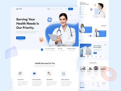 Waraso - Health Service Landing Page blue landing page blue theme detail landing page clean design health center new section article section health club doctor app health app health care doctor landing page doctor appointment doctor hospital landing page consultation landing page covid-19 apps health service app health service landing page health service