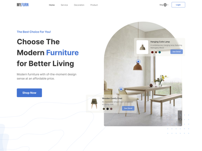 My.Furn - Furniture Landing Page decoration landing page decoration pattern decorations product design sercive section service page modern furniture chair product landing page testimonial testimonials product section minimalist design properties property bussiness product page furniture product furniture landing page furniture design furniture store furniture app