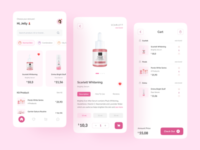 Skincare Mobile App skin care product details description mobile app shopping cart shopping app skincare marketplace marketplace app skincare packaging make up mobile app cart ui cart page mobile cart product detail page product detail skincare detail mobile skincare skincare logo skincare branding skincare skincare app
