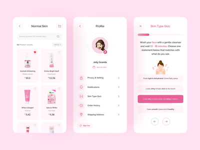 Skincare Mobile App - Part 2 beauty branding product screen product design quiz page cart page profile design beauty brand beauty product beauty salon beauty app mobile skincare profile card quiz app quiz product page profile mobile profile page