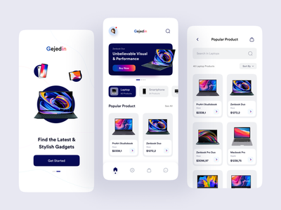 Gejedin - Gadget Store Mobile App gadget store mobile store design mobile shopping shopping app gadget shop electronics store marketplace gadget mobile store app gadget app phone app laptop mobile store mobile app design splash screen product design product page store app gadget store marketplace app gadgets