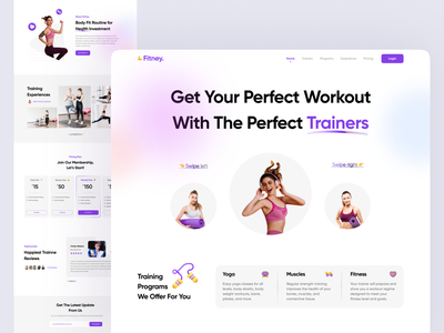 Fitney - Personal Trainer Landing Page personal trainer website trainer website detail fitness fitness ui workour website online workout online training gym app fitness website bodybuilding app workout app fitness landing page personal trainer app personal trainer landing page fitness app