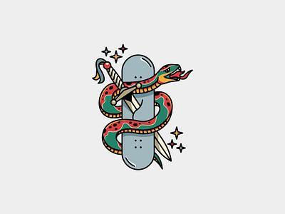BOARD STABBER snake knive stabb artsy skate skateboard branding vector illustration icon art logo design