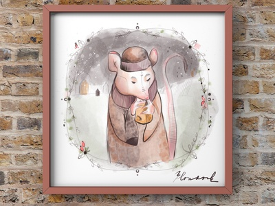 Rat in the snow illustration art book illustration illustration