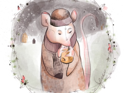 Rat in the snow II. illustration art book illustration illustration
