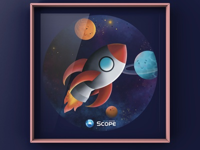 Space ship kids illustration art illustration