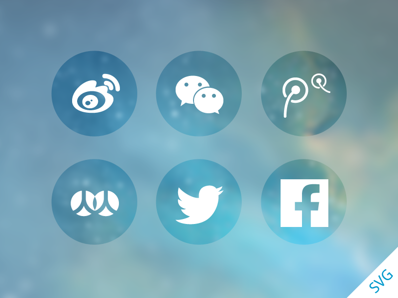 SNS sharing icons SVG freebie sns icon svg facebook twitter renren sina weibo tencent weixin share