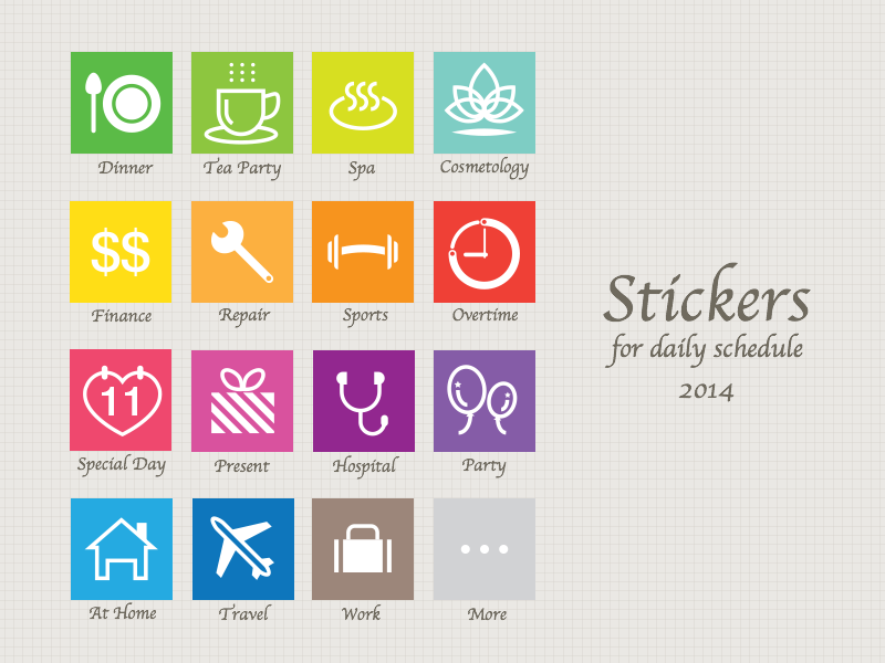 Stickers for daily schedule 2014 sticker icon simple schedule