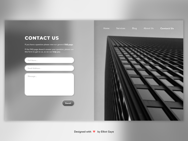 DailyUI #028 - Contact Us ease of use blur building monochromatic black and white greyscale neutral straight forward simplicity neumorphism theoretical ux modern design minimalism adobe illustrator adobe xd ui daily 100 challenge daily ui dailyui