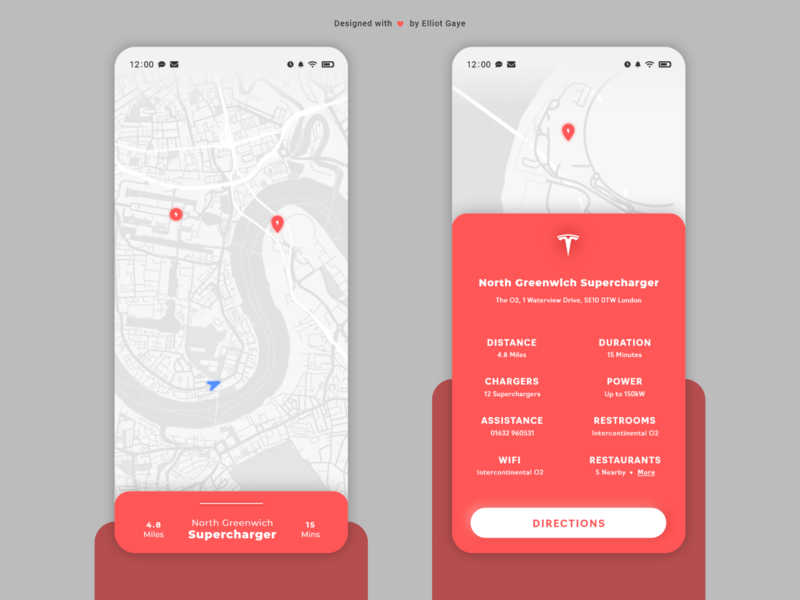 DailyUI #029 - Map neumorphism modernism mobile app design charging station location app directions mapping maps map tesla red light minimalism adobe illustrator adobe xd ux ui daily 100 challenge daily ui dailyui